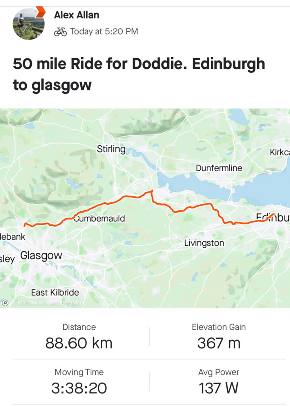 Doddie's Virtual Ride 2020 participant 31